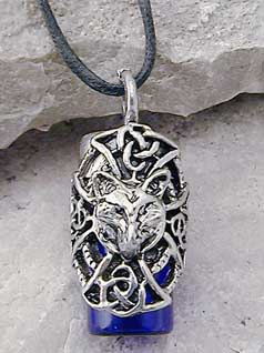 Celtic Wolf Spirit Bottle Pendant