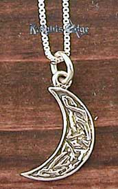 "Celtic Jewelry - The moon and symbol of the heavens delicately decorated with celtic knotwork. The Celtic pendant is 5/8"" high"