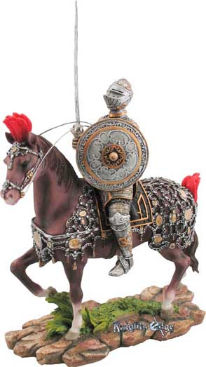 "The artistry of Seville alive in armor... The Knight figure of Seville has been skillfully crafted of resin and hand detailed for the discerning collector! 9""H."