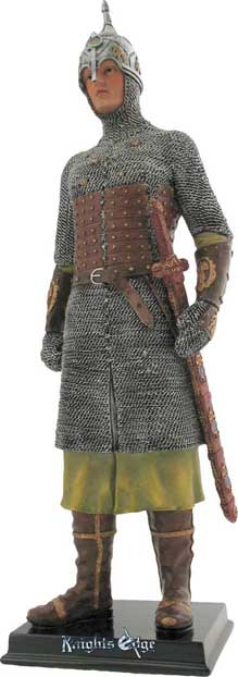 This beautifully crafted historical Norman knight figure attired in chainmail is expertly cast in resin and individually hand detailed to life likeness. An inspiring tribute to history's glorious past.