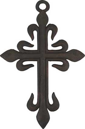 Large heavy weight wrought iron medieval garden cross is perfect for indoor and outdoor use