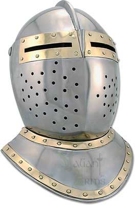 "The great European bascinet helmet was the favored ""War Helmet"" of the 1300 and early 1400's! During this time of transition from chain mail to plate armor, the bascinet style helm has held its place in history."