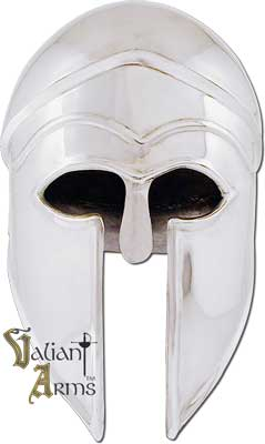 The Corinthian helmet favored by ancient Greeks enjoyed a long period of use, from the early 7th to the 4th Century B.C. Our epic reproduction is handcrafted in 18 gauge steel and dates between 600-550 BC.
