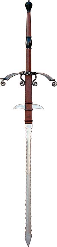 German flamberge landsknecht sword rivals the medieval swords found in museums. It is a must for the serious weapons connoisseur, and will become the treasured centerpiece in their collection.