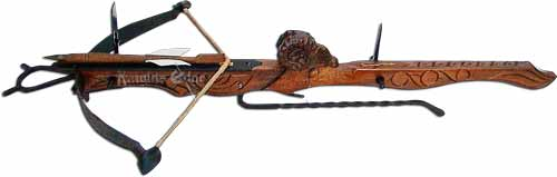 Itallian ancient crossbow. The power and fortitude of the mighty Ram, a beast of the wild that faces its opponent in a relentless stand of strength is depicted on this unique crossbow.