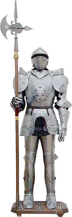 Stainless aluminum suit of armor display. Handmade in Italy.  Life size beautiful suit of armor.  Complete with halberd and stand.