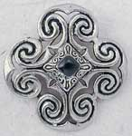 "This beautiful Victorian brooch has been cast of gleaming lead free antiquated pewter. It is accented in black at its center with the ancient old technique of enameling. Perfectly sized at 1-1/2"" x 1-1/2"" for a simple black dress or jacket. Instantly adds classical style to your wardrobe!"
