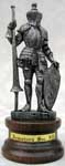 This Italian pewter knight miniature figurine is one from our fine collection of miniature pewter knights. This knight is actually MADE IN ITALY! All Italian made knights are represented with a choice medieval weapon and clad in the classic historical armor styles of medieval Europe.