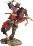 "Samurai figurines - Early Samurai horsemen were very effective on the battlefield in front line defense in battle. Skilled in the use of swords, spears and archery these colorfully clad cavalrymen were unmatched in combat. Each great Samurai horsemen is finely detailed warrior, cast in resin and beautifully hand detailed in colorful vibrance. 9.5""H"