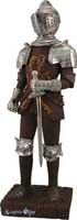 "Knight figures - Here is a knight you can't miss! Resin cast and uniquely finished in rustic and chrome finishes this medieval knight stands a grand 24"" tall and makes a wonderful focal point for any decor!"