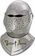 This classic full size bascinet knight helmet from the 17th century with round top design deflected blows minimizing a direct strike in battle. This fine visored Knights helmet is skilfully handcrafted of 18 gauge steel. Full size for wear.