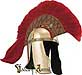 An exquisite Roman helmet full red hair plume (color of leaders and status of rank) tops the magnificent example of rome's high ranking infantry helmet. Hand-crafted in brass.