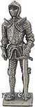 "The Medieval knight with sword figure is crafted from lead free pewter. This knight adds the perfect decorating touch to your castle decor! Each exquisitely detailed knight stands with weapon. The Medieval  knight with sword pewter figurine stands from 4-1/4"" tall."