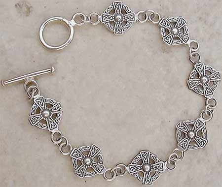 Sterling Silver Medieval Cross Toggle Bracelet