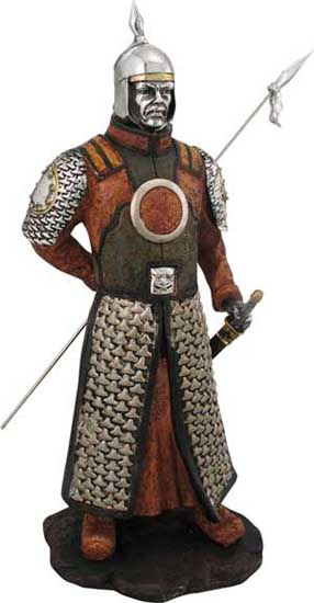 "Our large mongol warrior figurine is cast in cold resin and detailed and painted by hand. 17""H. This figure is the perfect gift for those who follow Genghis Khan history."
