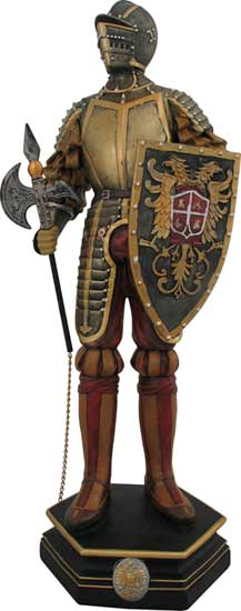 Our large golden knight figure is cast in cold resin and  detailed and painted by hand. The medieval knight figurine is 21 inches in height.