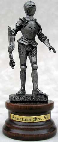 "All Italian made pewter knight statues are represented with a choice medieval weapon and clad in the classic historical armor styles of medieval Europe. Each wonderful knight stands atop a 1"" high real wood base and is sure to be a wonderful additional to all pewter and knight collections."