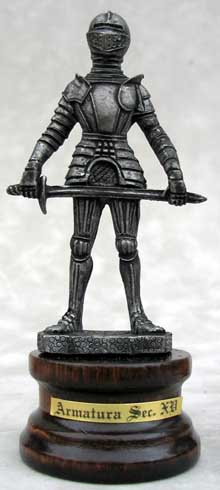 "Each wonderful pewter knight figurine stands atop a 1"" high real wood base and is sure to be a wonderful additional to all pewter and knight figure collections. Overall height is 4-1/4"" tall"