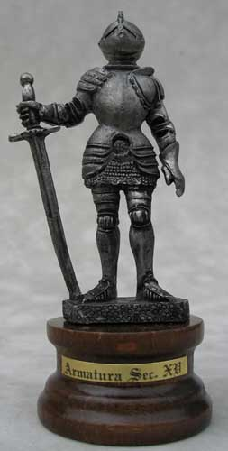 This miniature Italian medieval pewter knight figure is one from our fine collection of miniature pewter knights. This knight is actually MADE IN ITALY! All Italian made knights are represented with a choice medieval weapon and clad in the classic historical armor styles of medieval Europe.