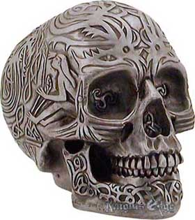 Our human head hunter Celtic skull is resin cast  and is expertly finished in authentic pewter tones. The skull features Celtic tribal designs.
