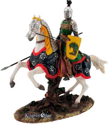 "This noble white knight figure rides atop his white steed, aware and ready with spear in hand for whatever obstacles lay before him. Each ""White Knight"" is individually hand painted, and a fine example of medieval knighthood inspiring the chivalry and honor of earlier times."