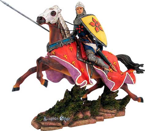 "Beautifully crafted in resin and individually hand painted crusader knight figure inspiring the style of histories Holy Crusaders. 11"" High."