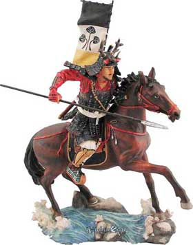 Japanese samurai figurines - Early Samurai Horsemen were very effective on the battlefield in front line defense in battle. Skilled in the use of swords, spears and archery these colorfully clad cavalrymen were unmatched in combat. Each great Samurai horsemen is finely detailed warrior, cast in resin and beautifully hand detailed in colorful vibrance.
