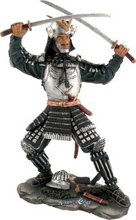 "Japanese Warrior Samurai Figures - A Samurai's talents embodied mind and soul. The discipline of learning the art of forging, swordsmanship and honor culminates in the ancient term ""Yamato"" or ""Spirit of a Samurai"". Our ""Samurai Spirit"" represents age old traditions of Japanese swordsmanship and makes a wonderful gift for patrons and students of the martial arts. Each is finely cast in resin and brilliantly hand detailed."
