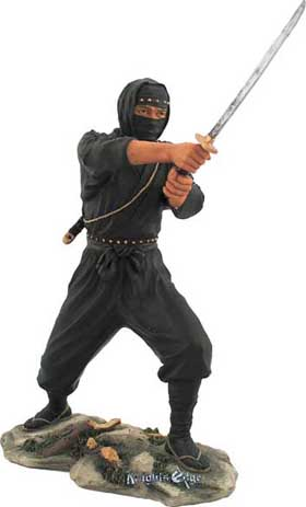 Mastered in the ultimate skill of Nonuse, the art of stealth and silent as the night, the black Ninja figure awaits the perfect strike. Immortalized in finely cast resin and beautifully hand detailed
