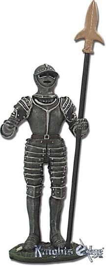 "The medieval English pike warrior statue with pike is crafted from lead free pewter. This knight adds the perfect decorating touch to your castle decor! Each exquisitely detailed knight stands with weapon. The English  knight with halberd pewter figurine stands from 5-1/4"" tall."