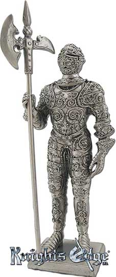 "The french knight figures with halberd are crafted from lead free pewter. This knight figurine adds the perfect decorating touch to your castle decor! Each exquisitely detailed knight stands with weapon. The French  knight with halberd pewter figurine stands from 4-3/4"" tall."