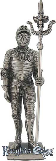 "The miniature medieval Italian knight statue with halberd is crafted from pewter. This knight adds the perfect decorating touch to your castle decor! Each exquisitely detailed knight stands with weapon. The Italian  knight with halberd pewter figurine stands from 4-3/4"" tall."