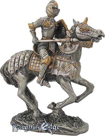 "The medieval knight on horseback figurine is crafted from pewter. This knight statue adds the perfect decorating touch to your castle decor! Each exquisitely detailed knight stands with weapon. The knight on horseback pewter figurine stands 4"" tall"