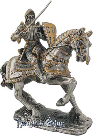 "This medieval pewter knight figure adds the perfect decorating touch to your castle decor! Each exquisitely detailed knight stands with weapon. The knight on horseback pewter figurine stands 4"" tall."