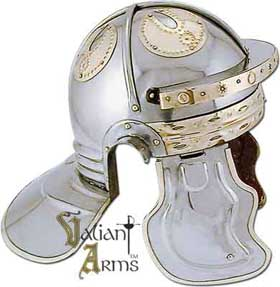Our hand-crafted 18 gauge steel wearable  imperial italic Roman helmet boasts classic brass accents.