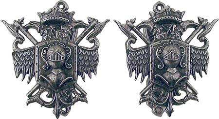 Pewter Coat of Arms Sword Hangers - Pewter Finish
